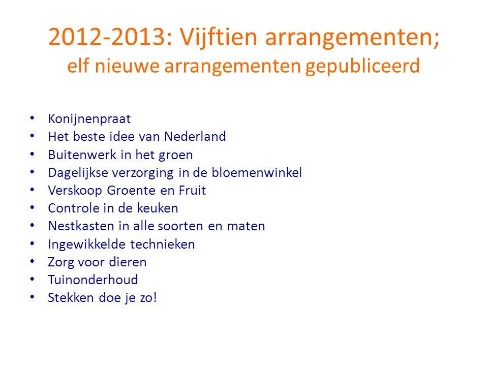 2012-2013: Vijftien arrangementen; elf nieuwe arrangementen gepubliceerd • Konijnenpraat • Het beste idee van Nederland • Buitenwerk in het groen • Da