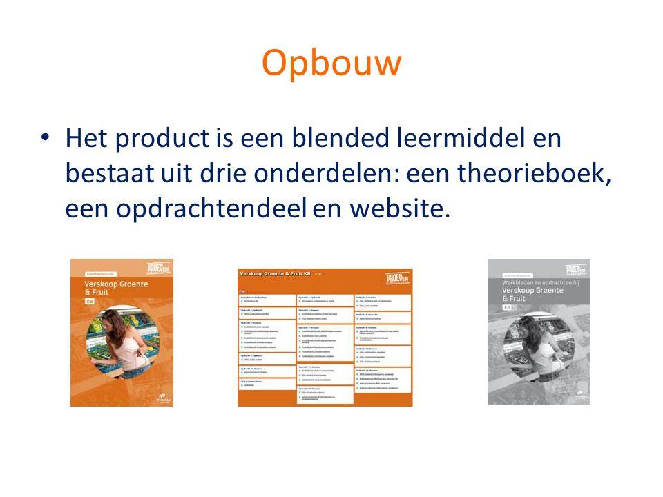 Opbouw • Het product is een blended leermiddel en bestaat uit drie onderdelen: een theorieboek, een opdrachtendeel en website.