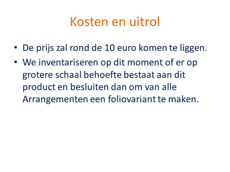 Kosten en uitrol • De prijs zal rond de 10 euro komen te liggen. • We inventariseren op dit moment of er op grotere schaal behoefte bestaat aan dit pr