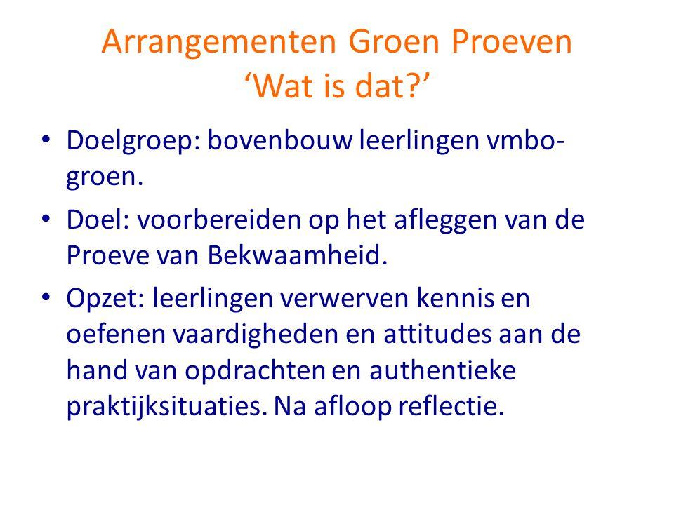 Arrangementen Groen Proeven 'Wat is dat?' • Doelgroep: bovenbouw leerlingen vmbo- groen. • Doel: voorbereiden op het afleggen van de Proeve van Bekwaa