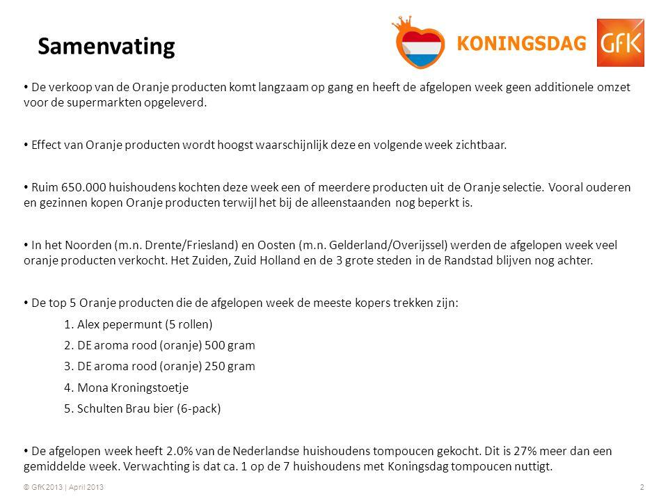 © GfK 2013 | April 20132 • De verkoop van de Oranje producten komt langzaam op gang en heeft de afgelopen week geen additionele omzet voor de supermarkten opgeleverd.