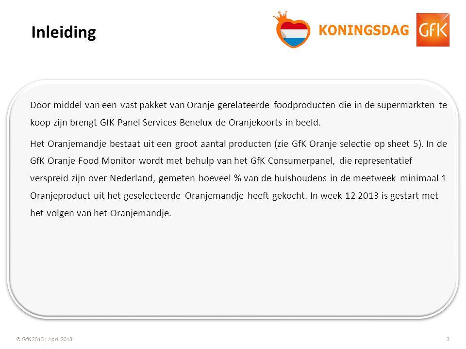 © GfK 2013 | April 20133 Door middel van een vast pakket van Oranje gerelateerde foodproducten die in de supermarkten te koop zijn brengt GfK Panel Se