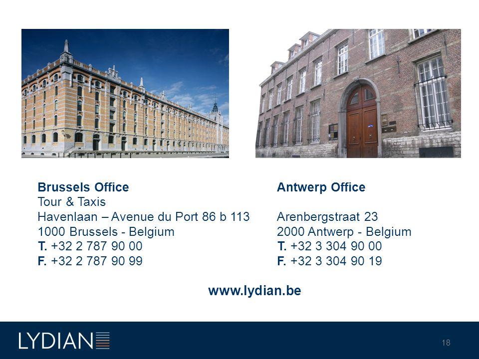 Brussels OfficeAntwerp Office Tour & Taxis Havenlaan – Avenue du Port 86 b 113Arenbergstraat 23 1000 Brussels - Belgium2000 Antwerp - Belgium T.