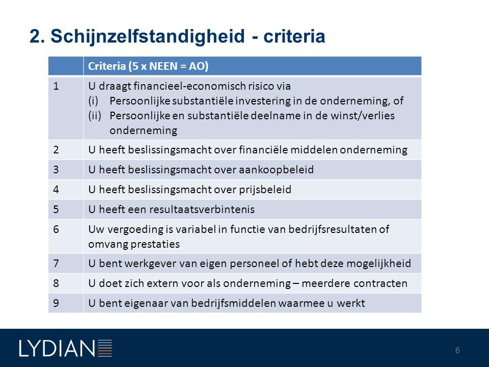 2. Schijnzelfstandigheid - criteria 6 Criteria (5 x NEEN = AO) 1U draagt financieel-economisch risico via (i)Persoonlijke substantiële investering in