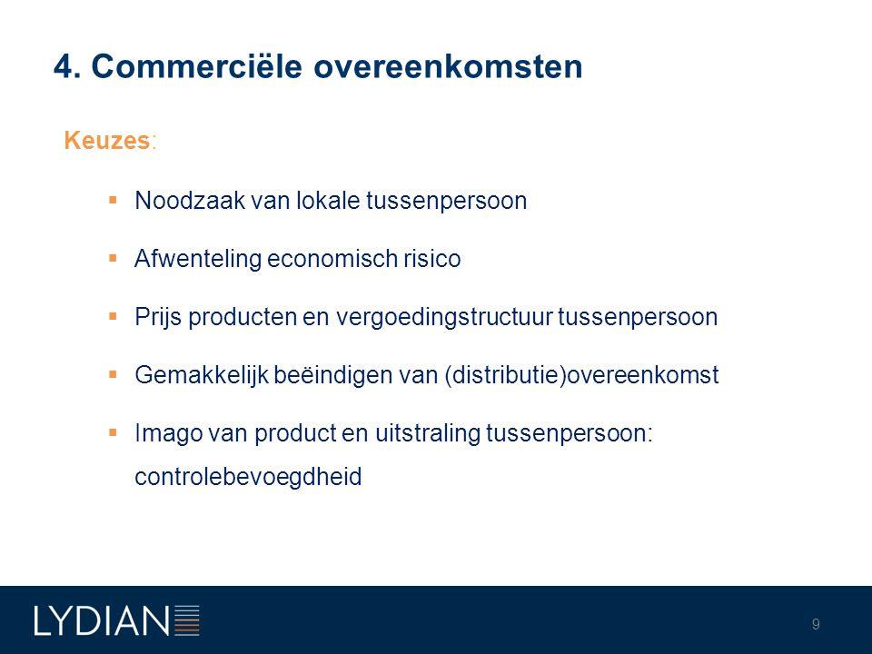 4. Commerciële overeenkomsten Keuzes:  Noodzaak van lokale tussenpersoon  Afwenteling economisch risico  Prijs producten en vergoedingstructuur tus