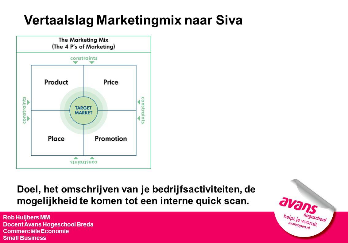 Vertaalslag Marketingmix naar Siva Doel, het omschrijven van je bedrijfsactiviteiten, de mogelijkheid te komen tot een interne quick scan. Rob Huijber