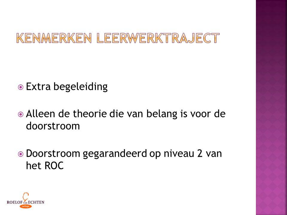  Extra begeleiding  Alleen de theorie die van belang is voor de doorstroom  Doorstroom gegarandeerd op niveau 2 van het ROC