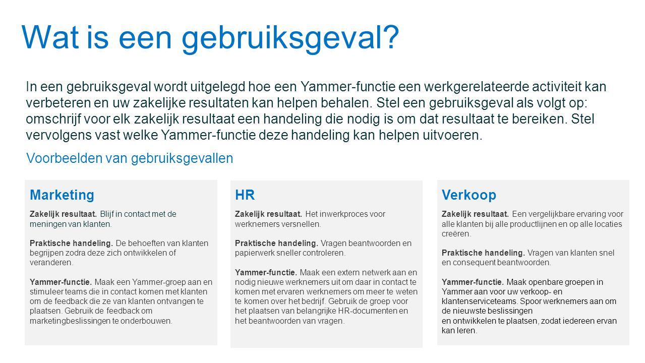 Wat is een gebruiksgeval? In een gebruiksgeval wordt uitgelegd hoe een Yammer-functie een werkgerelateerde activiteit kan verbeteren en uw zakelijke r