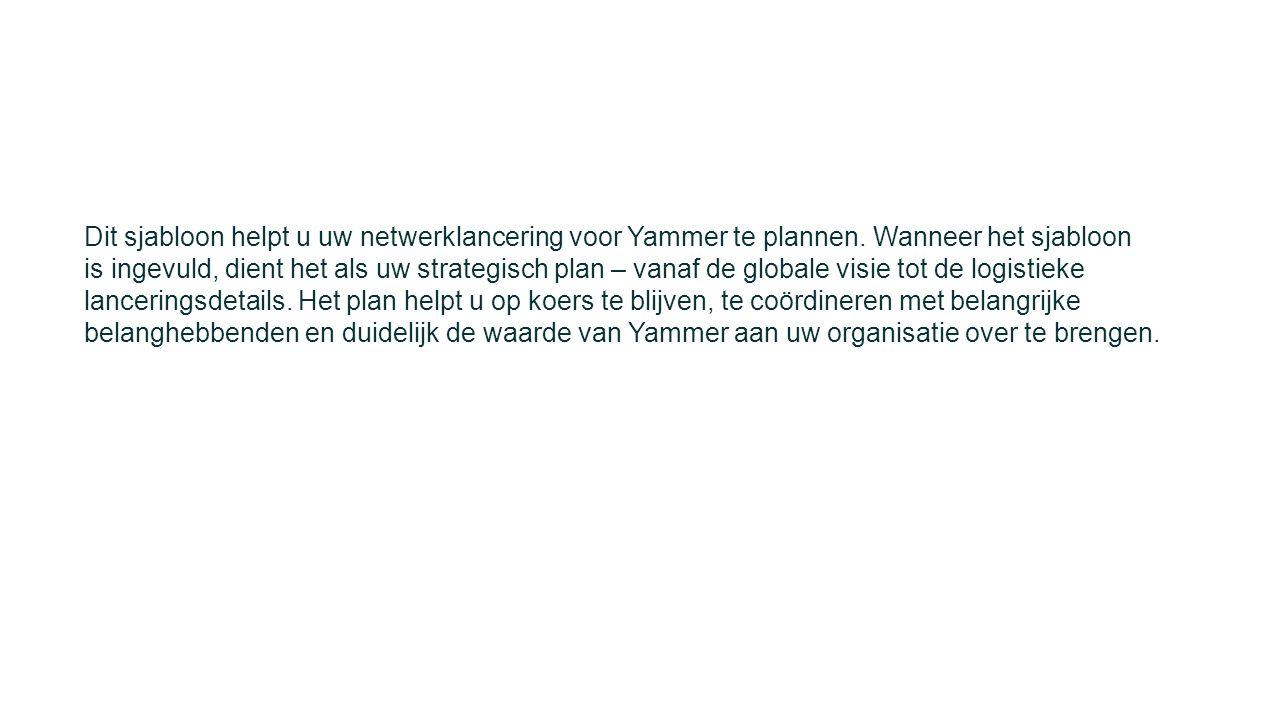 Dit sjabloon helpt u uw netwerklancering voor Yammer te plannen. Wanneer het sjabloon is ingevuld, dient het als uw strategisch plan – vanaf de global