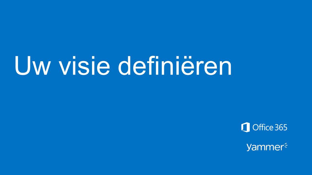 Yammer-gebruiksgevallen vaststellen Vergader met functieteams binnen uw organisatie om vast te stellen hoe Yammer werkgerelateerde activiteiten praktisch kan verbeteren, zodat u belangrijke zakelijke resultaten behaalt.