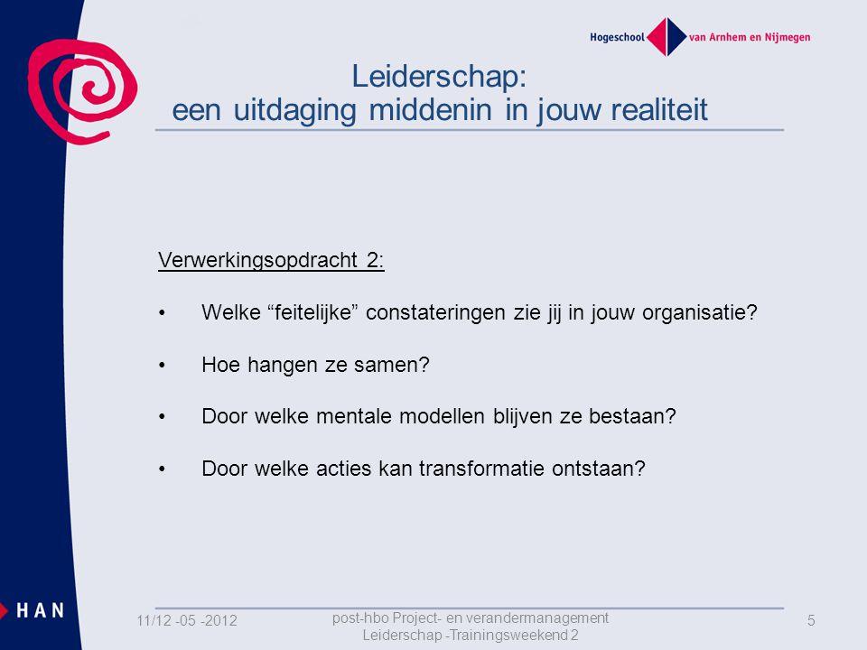 511/12 -05 -2012 post-hbo Project- en verandermanagement Leiderschap -Trainingsweekend 2 Leiderschap: een uitdaging middenin in jouw realiteit Verwerkingsopdracht 2: •Welke feitelijke constateringen zie jij in jouw organisatie.