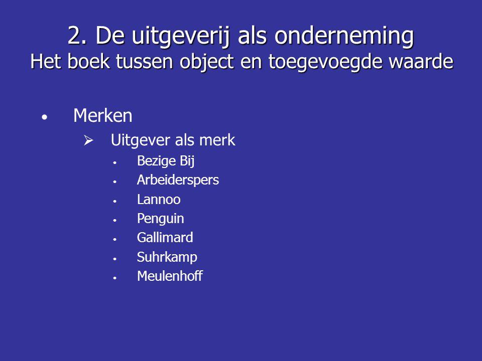 • Merken  Uitgever als merk • Bezige Bij • Arbeiderspers • Lannoo • Penguin • Gallimard • Suhrkamp • Meulenhoff