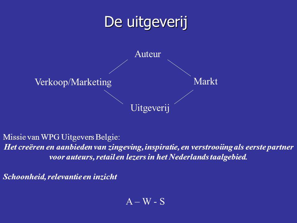 De uitgeverij Auteur Verkoop/Marketing Markt Uitgeverij Missie van WPG Uitgevers Belgie: Het creëren en aanbieden van zingeving, inspiratie, en verstrooiing als eerste partner voor auteurs, retail en lezers in het Nederlands taalgebied.