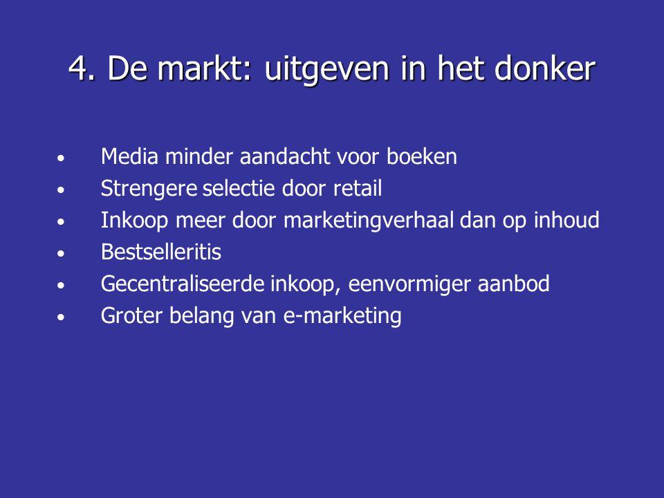 • Media minder aandacht voor boeken • Strengere selectie door retail • Inkoop meer door marketingverhaal dan op inhoud • Bestselleritis • Gecentraliseerde inkoop, eenvormiger aanbod • Groter belang van e-marketing 4.