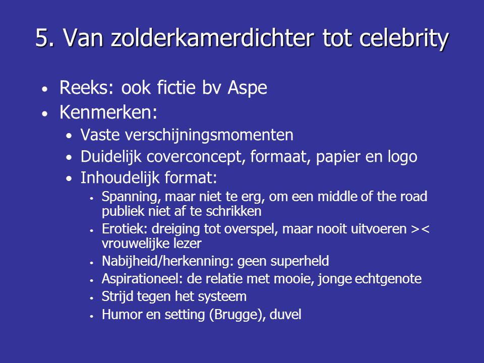 5. Van zolderkamerdichter tot celebrity • Reeks: ook fictie bv Aspe • Kenmerken: • Vaste verschijningsmomenten • Duidelijk coverconcept, formaat, papi