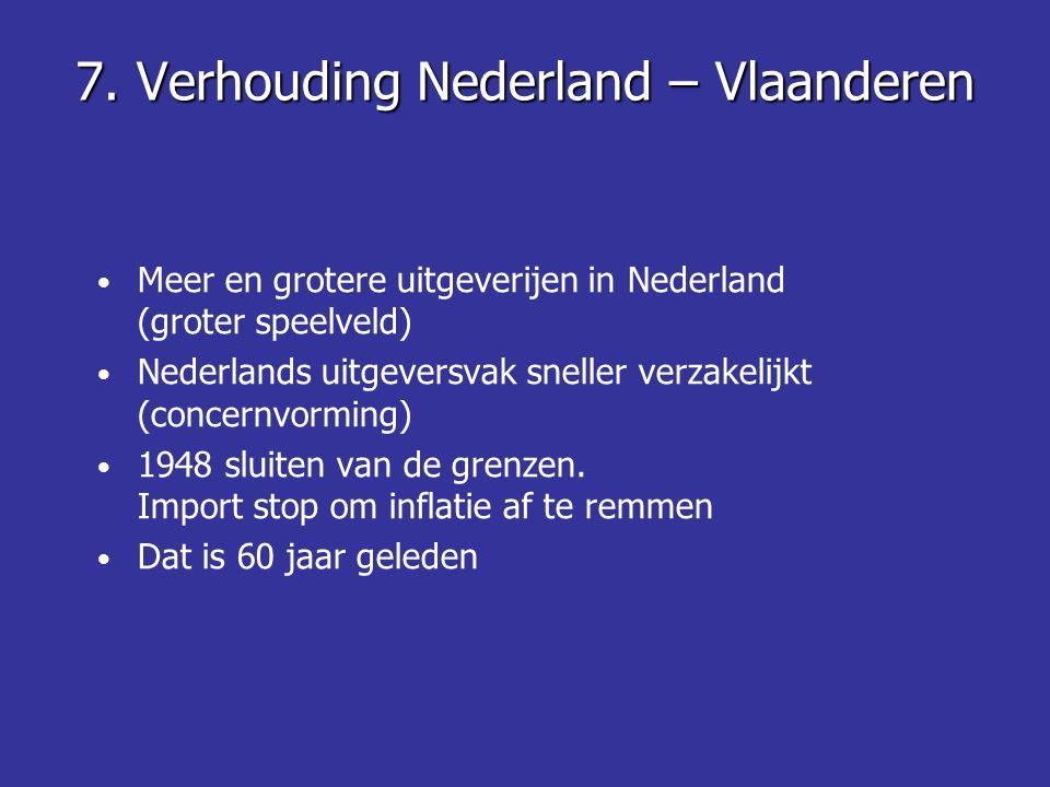 7. Verhouding Nederland – Vlaanderen • Meer en grotere uitgeverijen in Nederland (groter speelveld) • Nederlands uitgeversvak sneller verzakelijkt (co