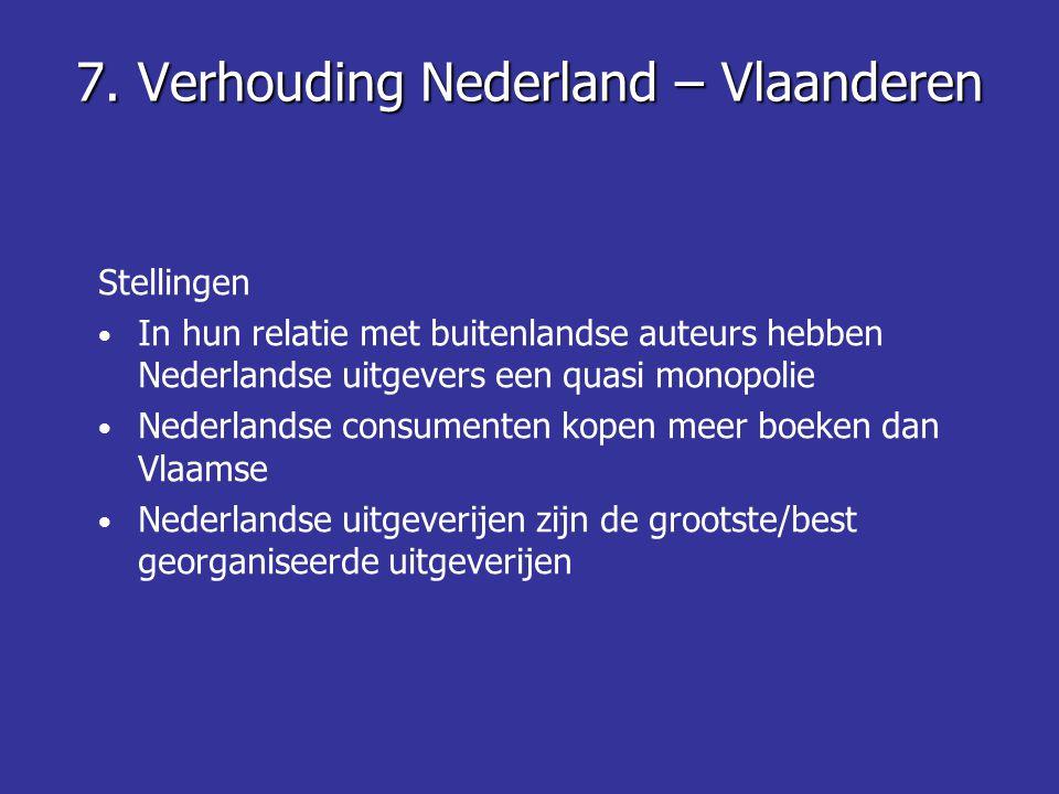 7. Verhouding Nederland – Vlaanderen Stellingen • In hun relatie met buitenlandse auteurs hebben Nederlandse uitgevers een quasi monopolie • Nederland