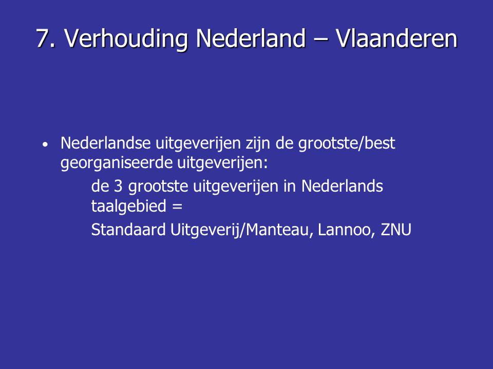 7. Verhouding Nederland – Vlaanderen • Nederlandse uitgeverijen zijn de grootste/best georganiseerde uitgeverijen: de 3 grootste uitgeverijen in Neder