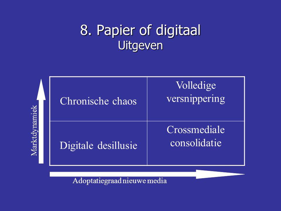 8. Papier of digitaal Uitgeven Chronische chaos Volledige versnippering Digitale desillusie Crossmediale consolidatie Adoptatiegraad nieuwe media Mark