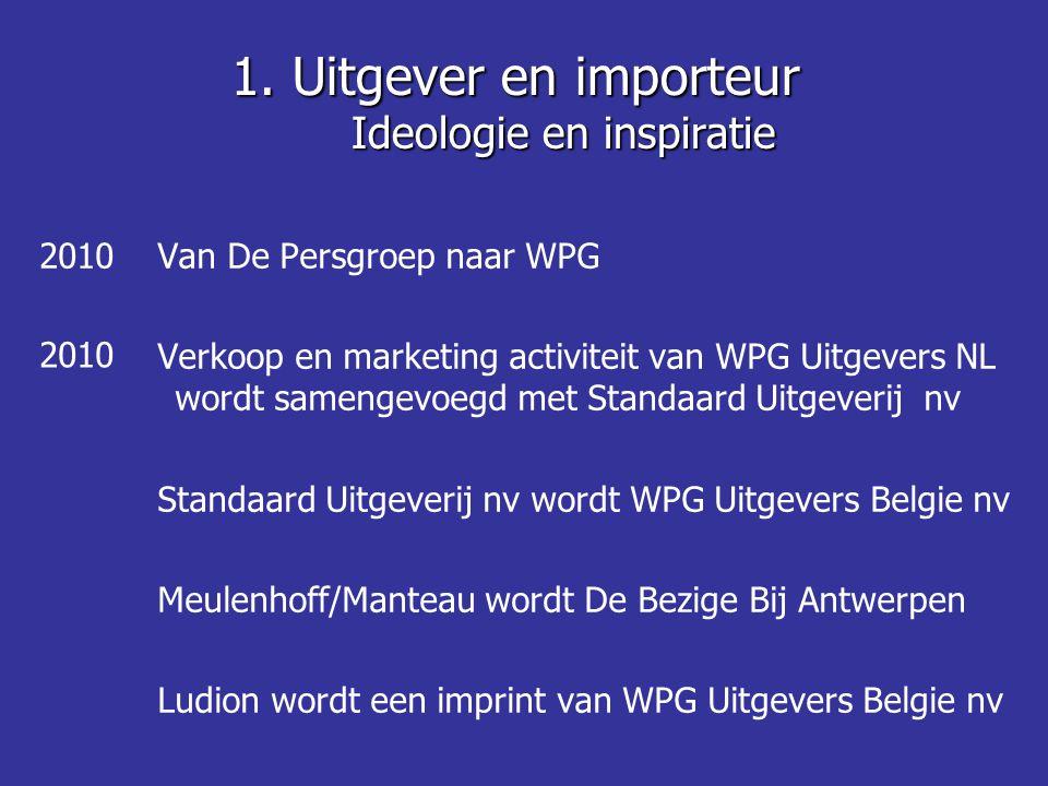 1. Uitgever en importeur Ideologie en inspiratie Van De Persgroep naar WPG Verkoop en marketing activiteit van WPG Uitgevers NL wordt samengevoegd met
