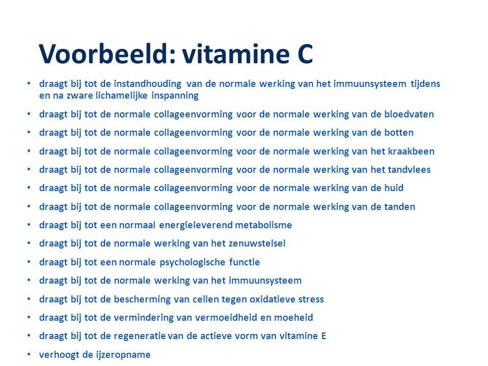 Voorbeeld: vitamine C • draagt bij tot de instandhouding van de normale werking van het immuunsysteem tijdens en na zware lichamelijke inspanning • dr