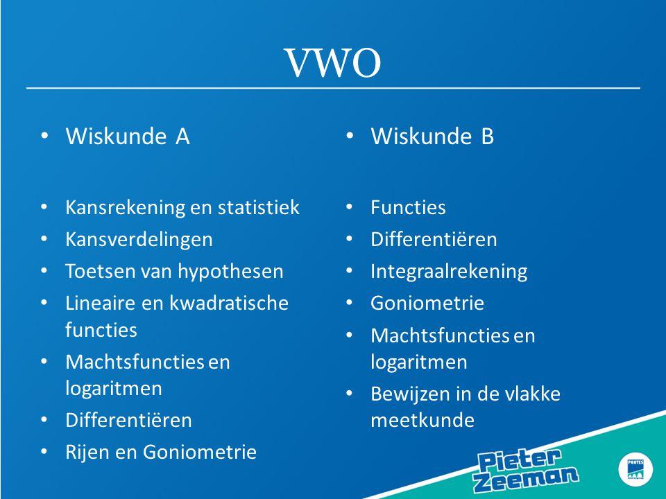 VWO • Wiskunde A • Kansrekening en statistiek • Kansverdelingen • Toetsen van hypothesen • Lineaire en kwadratische functies • Machtsfuncties en logar