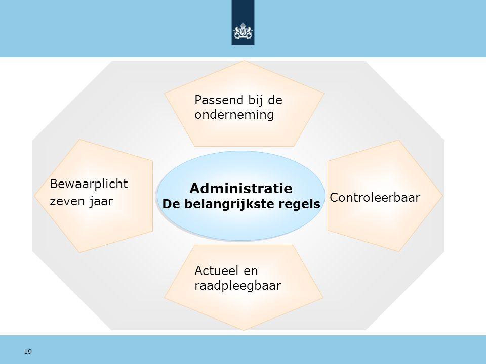 Actueel en raadpleegbaar Passend bij de onderneming Administratie De belangrijkste regels Controleerbaar Bewaarplicht zeven jaar 19