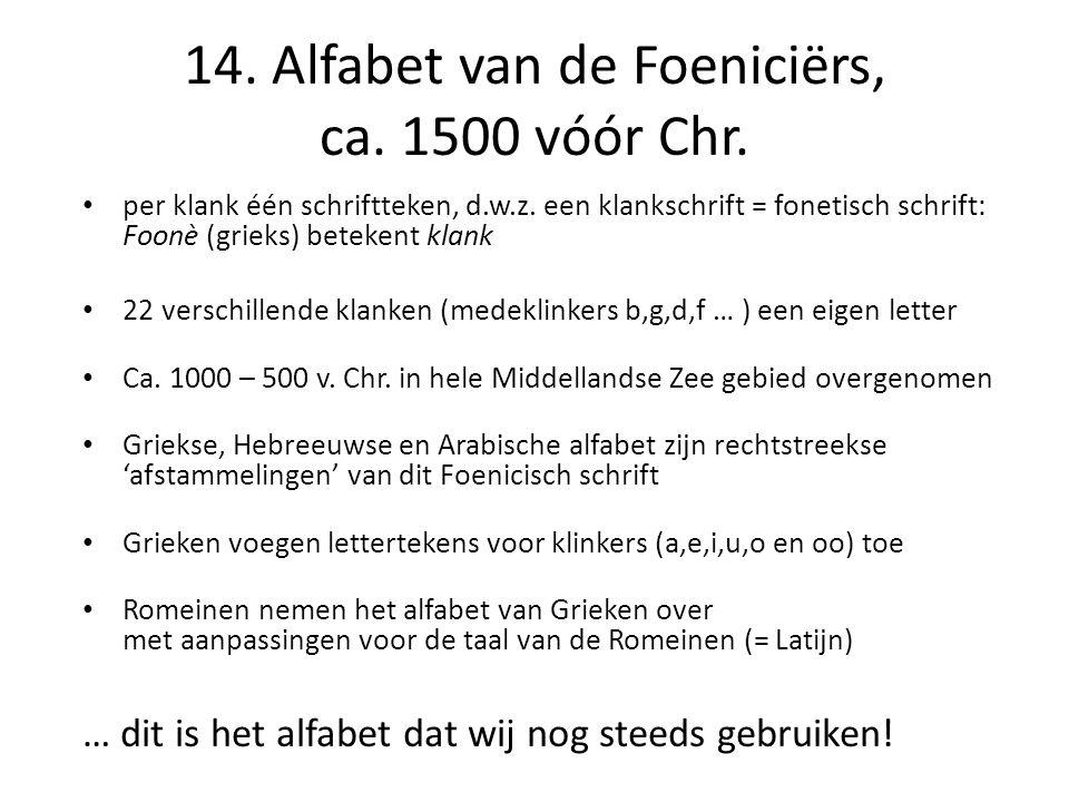 14.Alfabet van de Foeniciërs, ca. 1500 vóór Chr. • per klank één schriftteken, d.w.z.
