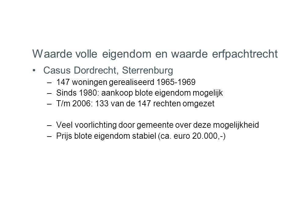 •Casus Dordrecht, Sterrenburg –147 woningen gerealiseerd 1965-1969 –Sinds 1980: aankoop blote eigendom mogelijk –T/m 2006: 133 van de 147 rechten omge