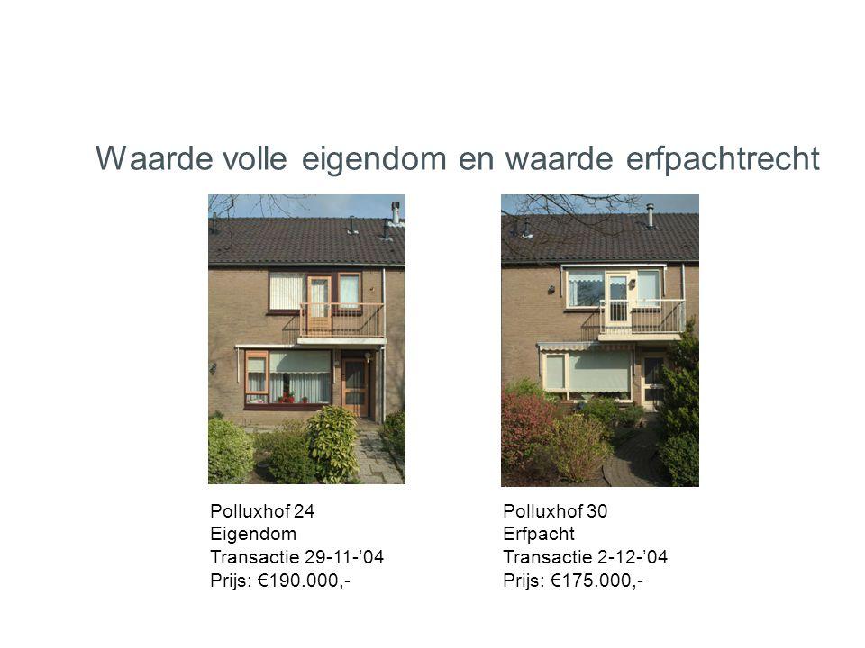 Polluxhof 24 Eigendom Transactie 29-11-'04 Prijs: €190.000,- Polluxhof 30 Erfpacht Transactie 2-12-'04 Prijs: €175.000,- Waarde volle eigendom en waar