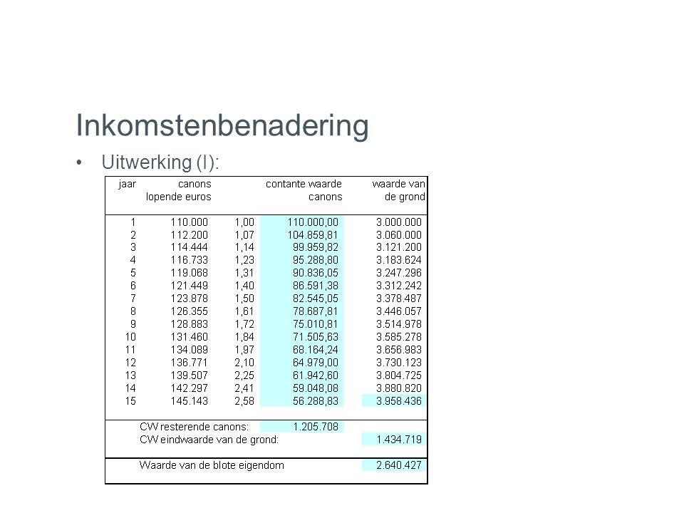 Inkomstenbenadering •Uitwerking (I):