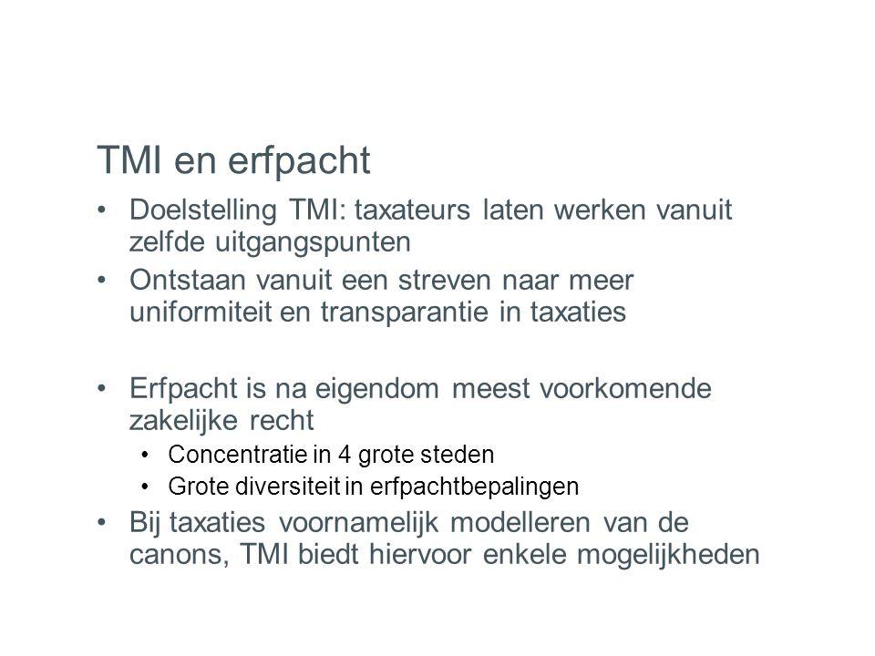 TMI en erfpacht •Doelstelling TMI: taxateurs laten werken vanuit zelfde uitgangspunten •Ontstaan vanuit een streven naar meer uniformiteit en transpar
