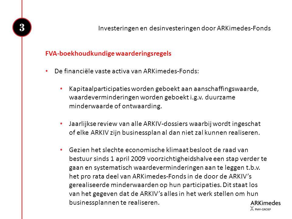 FVA-boekhoudkundige waarderingsregels • De financiële vaste activa van ARKimedes-Fonds: • Kapitaalparticipaties worden geboekt aan aanschaffingswaarde