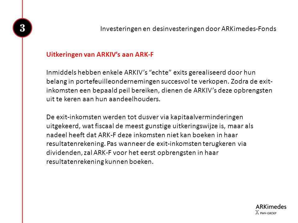 """Investeringen en desinvesteringen door ARKimedes-Fonds Uitkeringen van ARKIV's aan ARK-F Inmiddels hebben enkele ARKIV's """"echte"""" exits gerealiseerd do"""