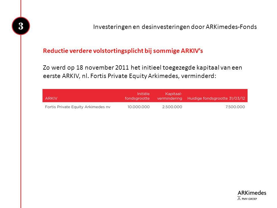 Investeringen en desinvesteringen door ARKimedes-Fonds Reductie verdere volstortingsplicht bij sommige ARKIV's Zo werd op 18 november 2011 het initiee