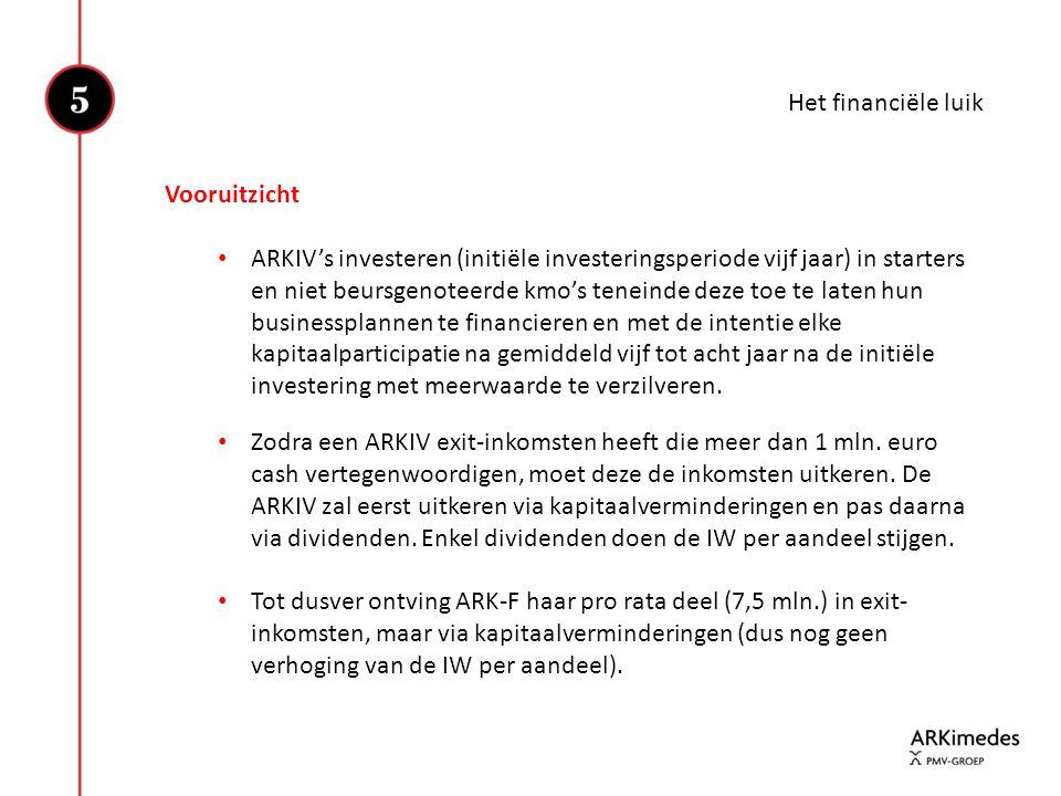 Het financiële luik Vooruitzicht • ARKIV's investeren (initiële investeringsperiode vijf jaar) in starters en niet beursgenoteerde kmo's teneinde deze