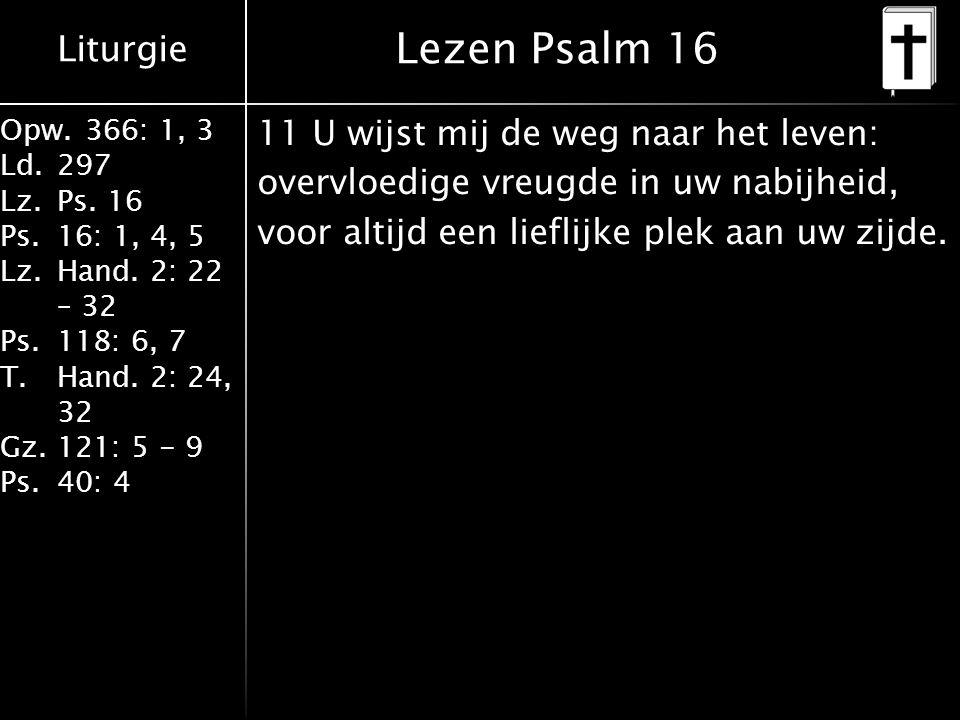 Liturgie Opw.366: 1, 3 Ld.297 Lz.Ps. 16 Ps.16: 1, 4, 5 Lz.Hand. 2: 22 – 32 Ps.118: 6, 7 T.Hand. 2: 24, 32 Gz.121: 5 - 9 Ps.40: 4 11 U wijst mij de weg