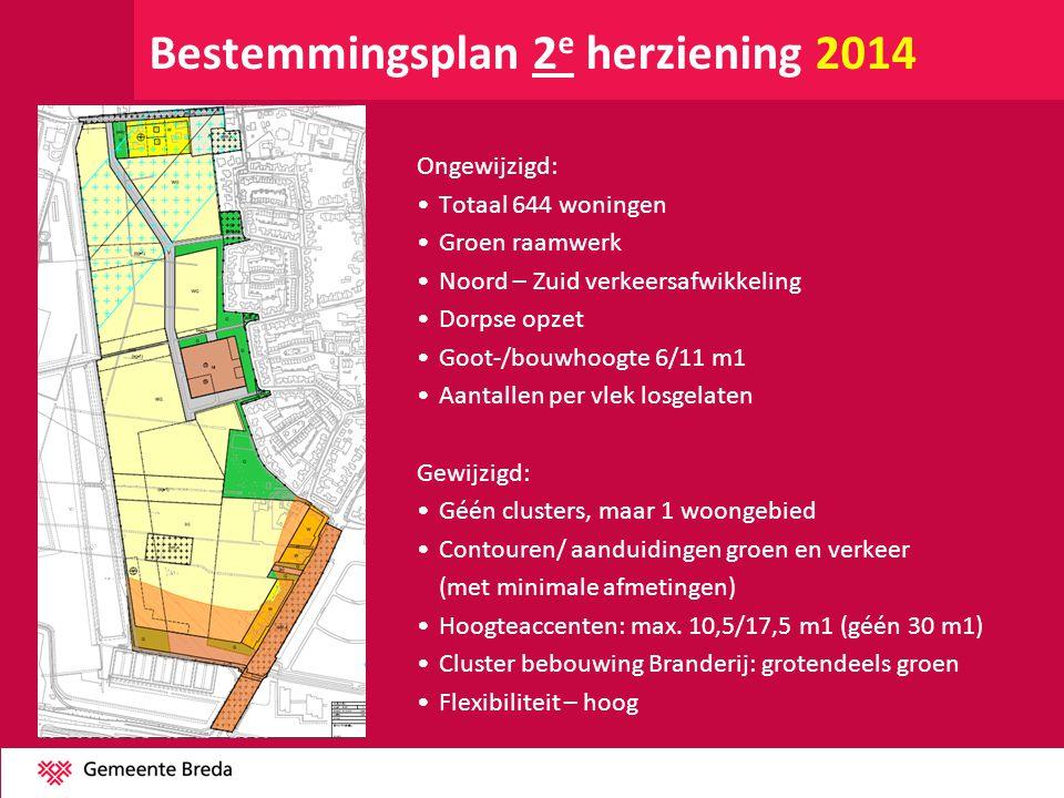 Bestemmingsplan 2 e herziening 2014 Ongewijzigd: •Totaal 644 woningen •Groen raamwerk •Noord – Zuid verkeersafwikkeling •Dorpse opzet •Goot-/bouwhoogt