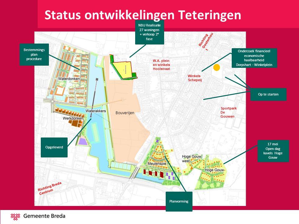 Bouverijen W.A. plein en winkels Hoolstraat Winkels Schepeij Sportpark De Gouwen Richting Oosterhou t Richting Breda Centrum 17 mei Open dag kavels Ho