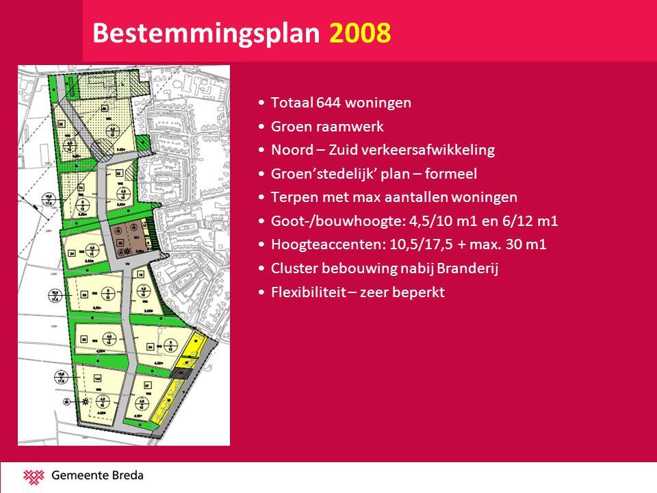 Bestemmingsplan 1 e herziening 2011 Ongewijzigd: •Totaal 644 woningen •Groen raamwerk •Noord – Zuid verkeersafwikkeling •Clusters •Cluster Branderij grotendeels bebouwd Gewijzigd: •Dorpse opzet •Goot-/ bouwhoogte: bijna overal 6/11 •Hoogteaccenten beperkt: 10,5/17,5 en max 30 m1 •Aantallen woningen per cluster losgelaten •Flexibiliteit - redelijk