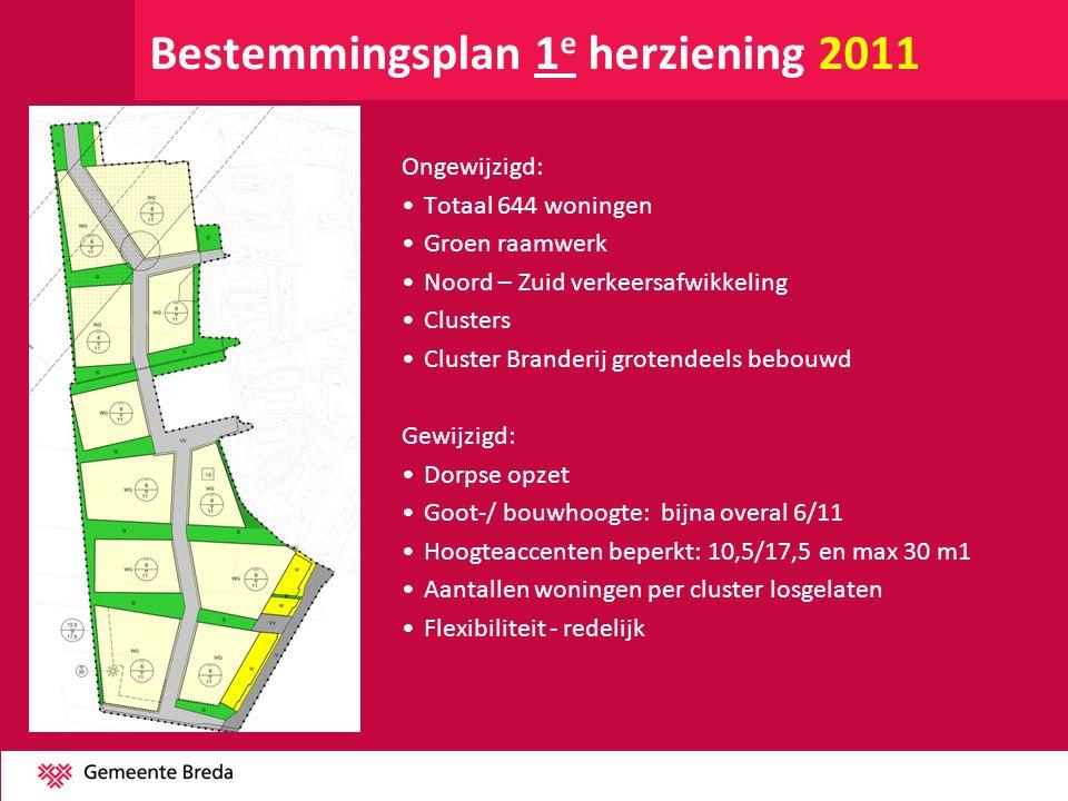 Bestemmingsplan 1 e herziening 2011 Ongewijzigd: •Totaal 644 woningen •Groen raamwerk •Noord – Zuid verkeersafwikkeling •Clusters •Cluster Branderij g