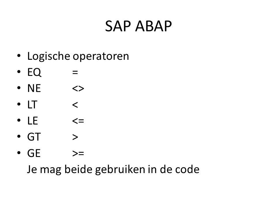 SAP ABAP • DATA Type – DATA number01 TYPE i.(integer) TYPE P DECIMALS 2.