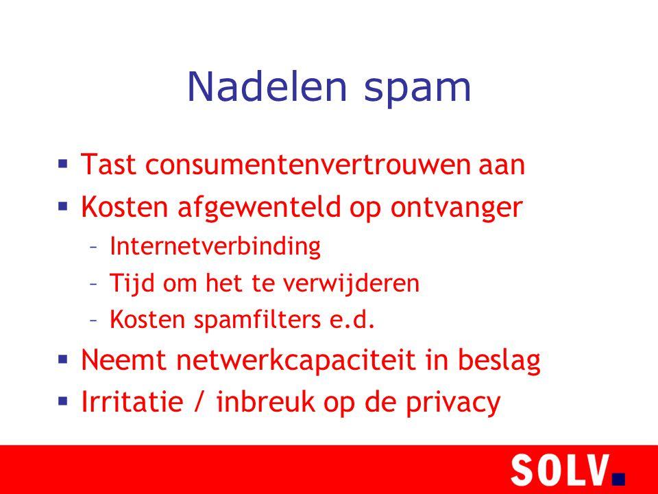 Nadelen spam  Tast consumentenvertrouwen aan  Kosten afgewenteld op ontvanger –Internetverbinding –Tijd om het te verwijderen –Kosten spamfilters e.d.