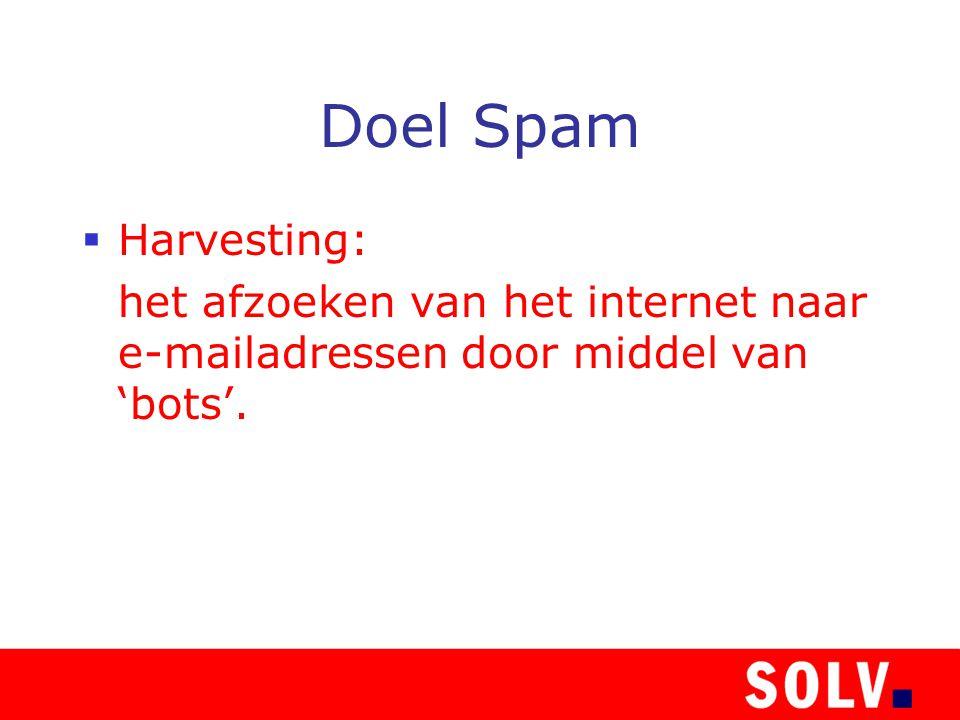 Doel Spam  Harvesting: het afzoeken van het internet naar e-mailadressen door middel van 'bots'.