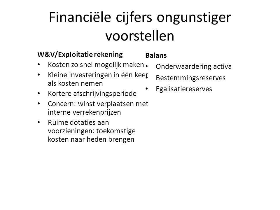 Financiële cijfers ongunstiger voorstellen W&V/Exploitatie rekening • Kosten zo snel mogelijk maken • Kleine investeringen in één keer als kosten neme