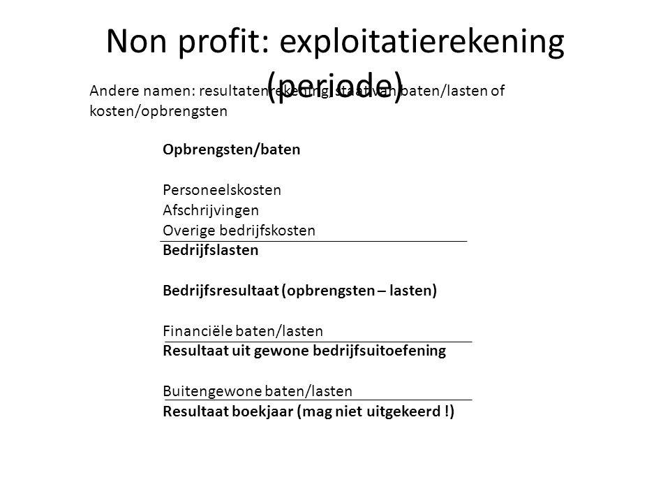 Non profit: exploitatierekening (periode) Andere namen: resultatenrekening, staat van baten/lasten of kosten/opbrengsten Opbrengsten/baten Personeelsk