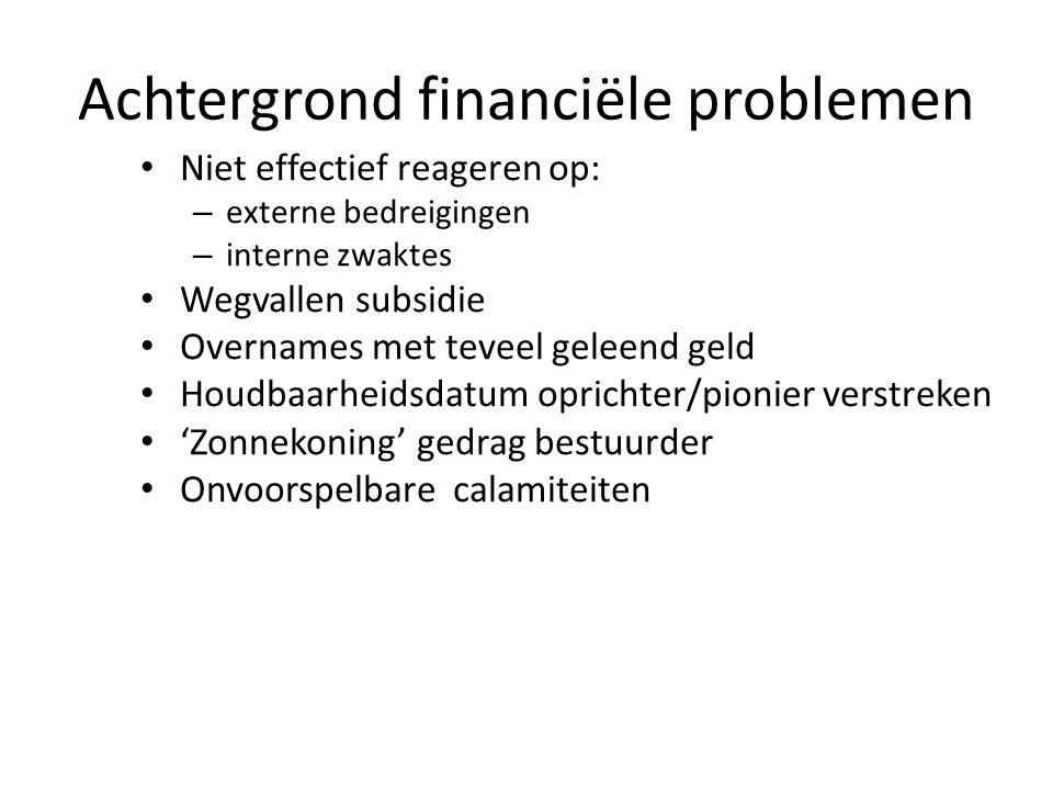 Achtergrond financiële problemen • Niet effectief reageren op: – externe bedreigingen – interne zwaktes • Wegvallen subsidie • Overnames met teveel ge