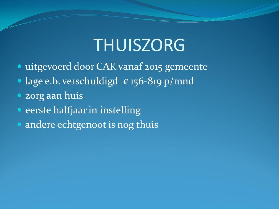 ZORG IN INSTELING  Permanente zorg in tehuis  AWBZ, uitgevoerd door CAK  hoge eigen bedrage verschuldigd max € 2.248 p/mnd