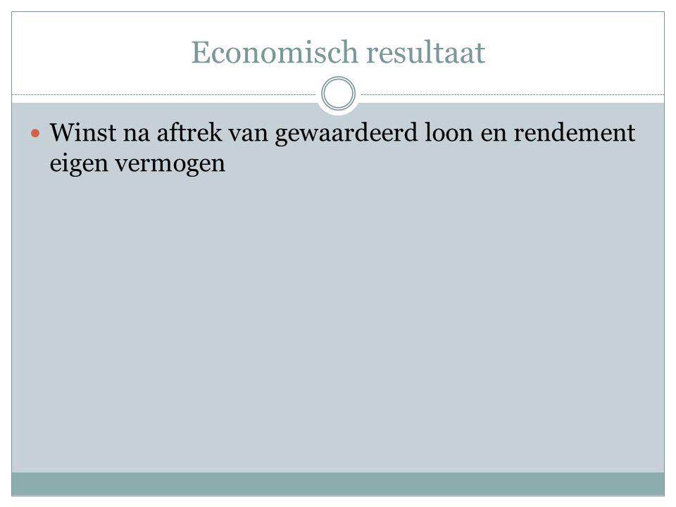 Economisch resultaat  Winst na aftrek van gewaardeerd loon en rendement eigen vermogen