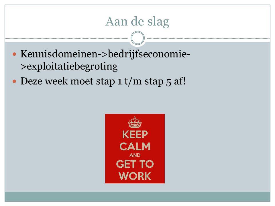Aan de slag  Kennisdomeinen->bedrijfseconomie- >exploitatiebegroting  Deze week moet stap 1 t/m stap 5 af!